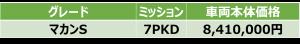 マカンS価格表