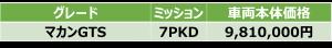 マカンGTS価格表