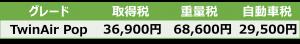 TwinAir Pop税額表
