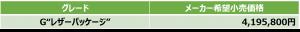 Gレザーパッケージ価格表