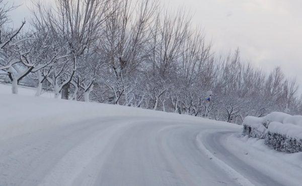 雪道のカーブ