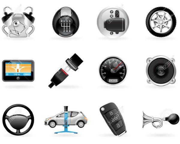8329575-車のオプション、付属品および機能のアイコンを設定